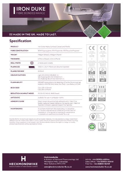 Heckmondwike - Iron Duke - Specification Sheet