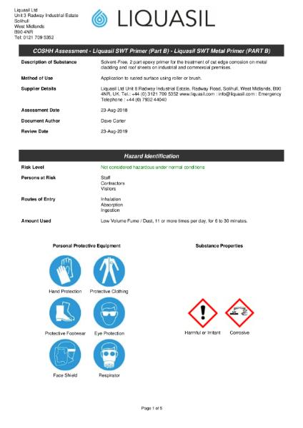 Liquasil SWT (Surface & Wet Tolerant) Primer Part B. Component for use in Liquasil's cut edge corrosion treatment. COSSH Assessment