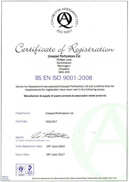 ISO 9001:2008 Certificate (quarry screens and associated metal products)