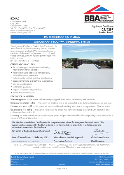 05/4287_3 Armourplan P Roof Waterproofing System