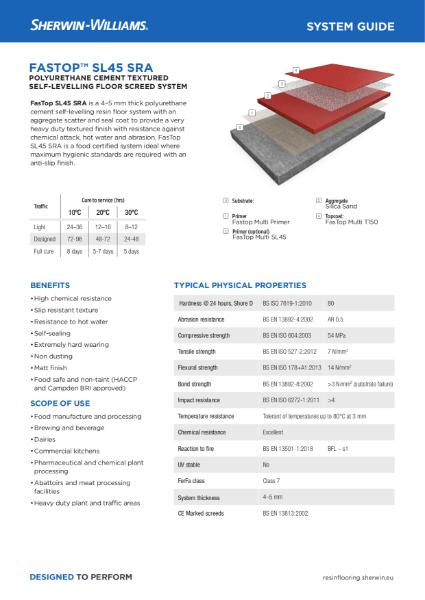 Resin flooring FasTop SL45 SRA screed system