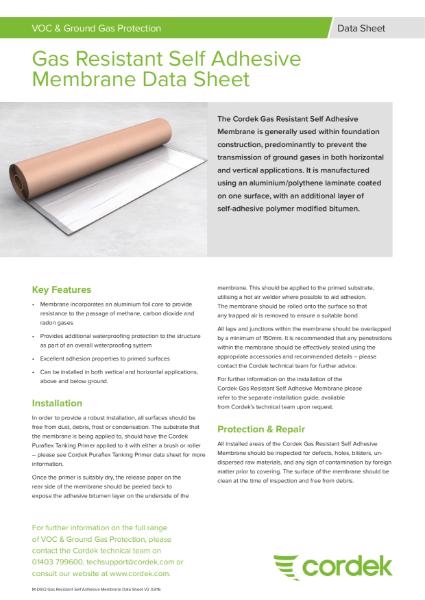 Cordek Gas Resistant Self Adhesive Membrane Data Sheet