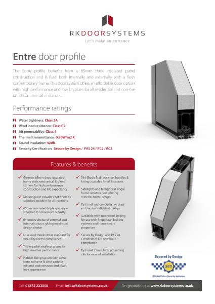 Entre Door Data Specification Sheet