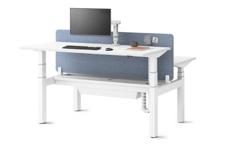 Ratio Sit-Stand Cluster of Six - Back-to-back Desk with Screen