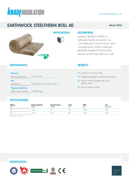 Knauf Insulation SteelTherm Roll 40 Data Sheet