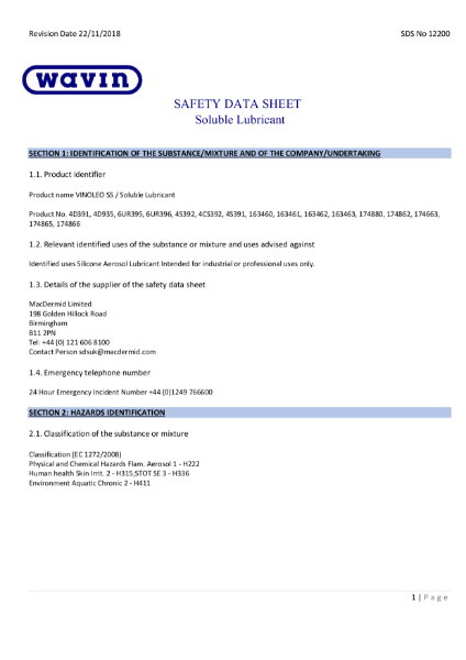 MSDS - OSMA Soluble Lubricant