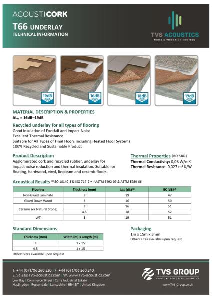 TVS Acoustics Acousticork T66 General Purpose Acoustic Underlay