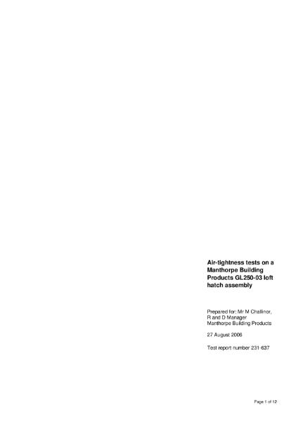 Manthorpe GL250-03 Loft Access Hatch Range - BRE Airtightness Test Report 231-637