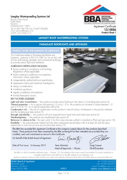 12/4886 Paraglaze Rooflights and Upstands