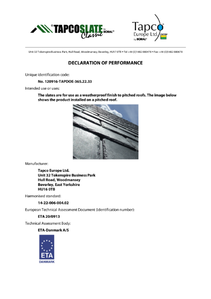 TapcoSlate Declaration of Performance (DoP)
