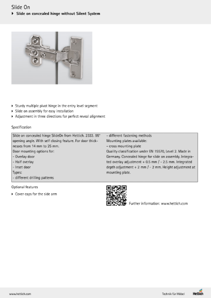 Product Information - SlideOn Concealed Hinges