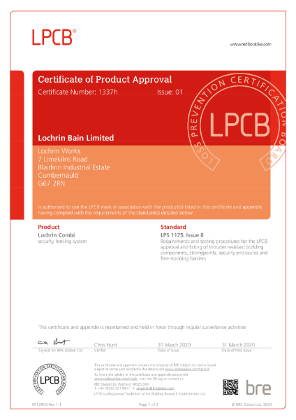 LPS1175 - Level SL1 Rated - Lochrin Combi Palisade Security Fencing