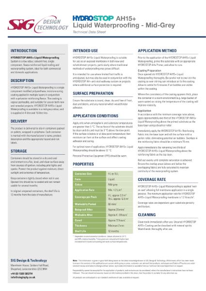 Hydrostop AH+ Liquid Waterproofing Datasheet