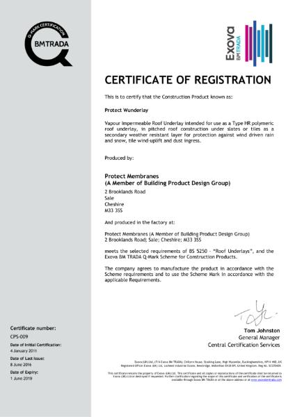 Protect Wunderlay Membrane Certificate