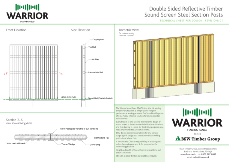 Warrior Technical Drawing - Double sided reflective sound screen
