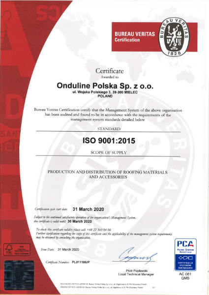 ISO 9001 - Onduline Sheets