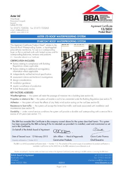 13/5031 Starcoat Roof Waterproofing System