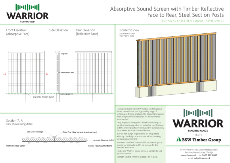 Warrior Technical Drawing - Absorptive Sound Screen
