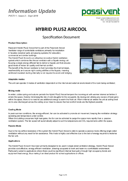 Passivent Specification Document - Hybrid Plus2 Aircool Ventilator - Window or Wall