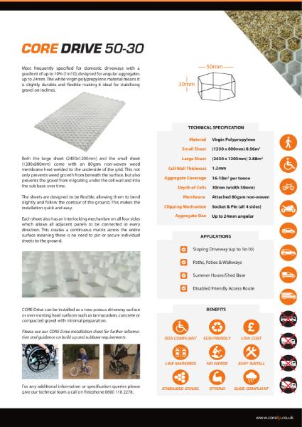 CORE DRIVE 50 30 Gravel Stabiliser Specification Sheet