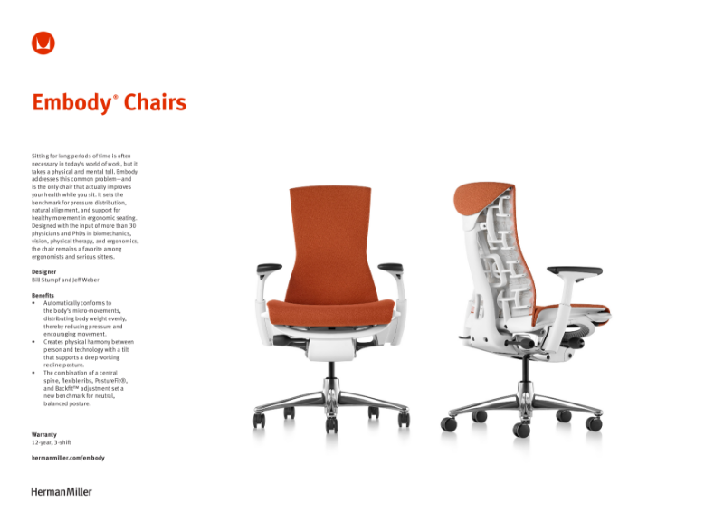 Embody Chair - Product Sheet