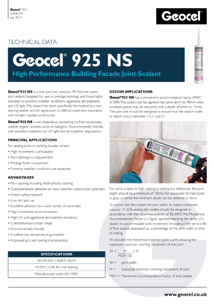 Geocel 925 NS NON STAINING High performance building facade joint sealant
