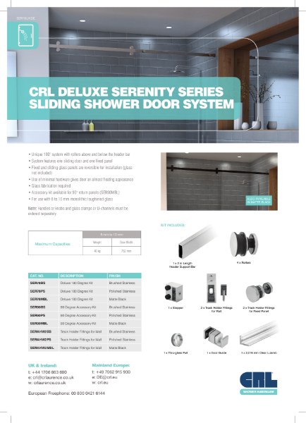 CRL Serenity Series Sliding Shower Door System