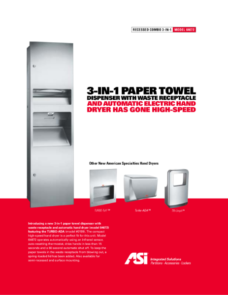Paper Towel Dispenser, Hand Dryer, and Waste Receptacle Unit