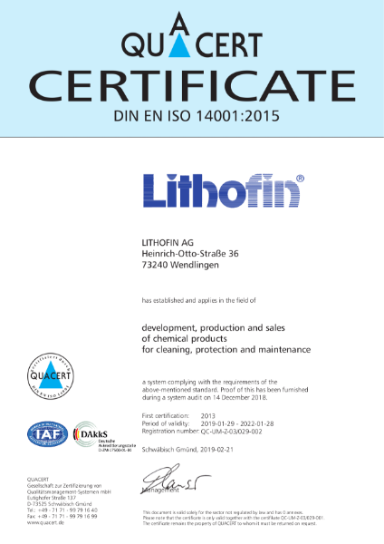 QM Certificate ISO 14001