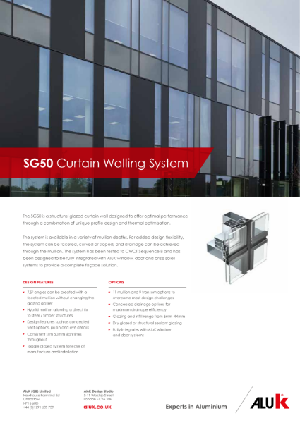 AluK SG52 Curtain Walling System Datasheet