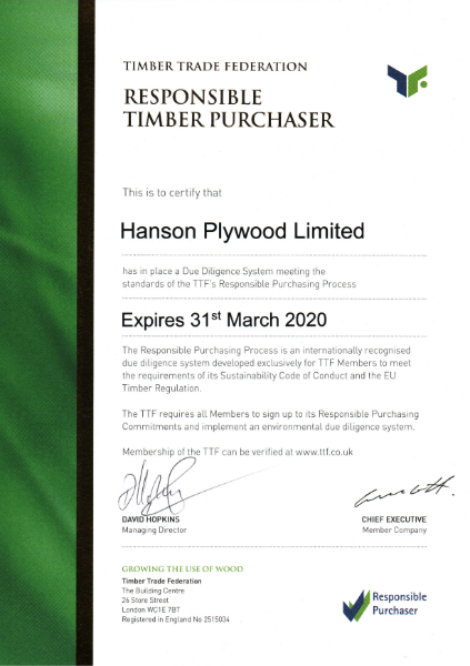 TTF Responsible Purchasing Policy Certificate
