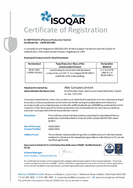 EC CERTIFICATE of Factory Production Control