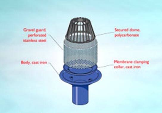 WB2 Series outlet for inverted  roof, spigot outlet, dome grating