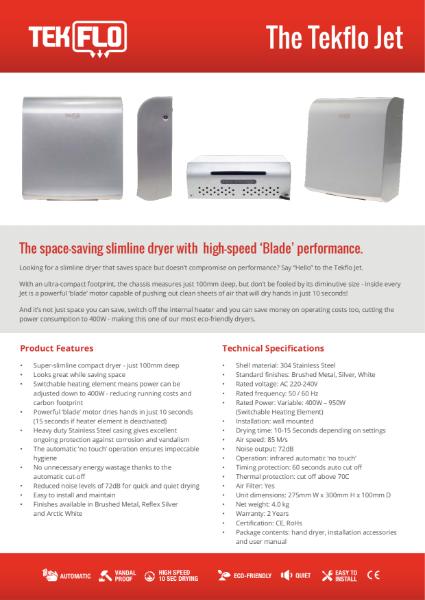 Tekflo Jet Hand Dryer - Technical Specifications
