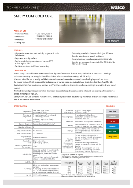 Data Sheet: Safety Coat Cold Cure
