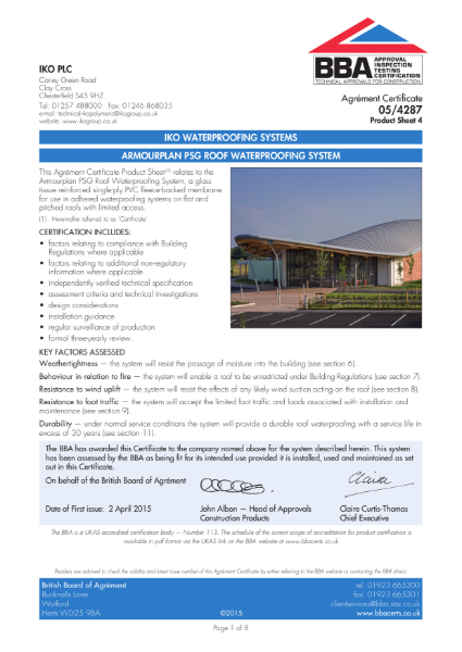 05/4287_4 Armourplan PSG Roof Waterproofing System