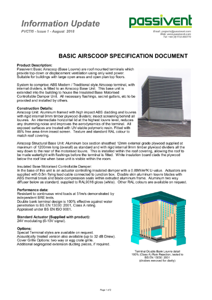 Passivent Specification Document_Airscoop Roof Ventilation Terminal - Basic