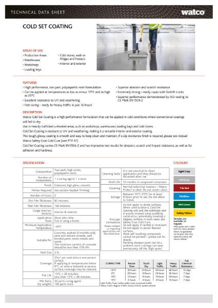 Data Sheet: Cold Set Coating