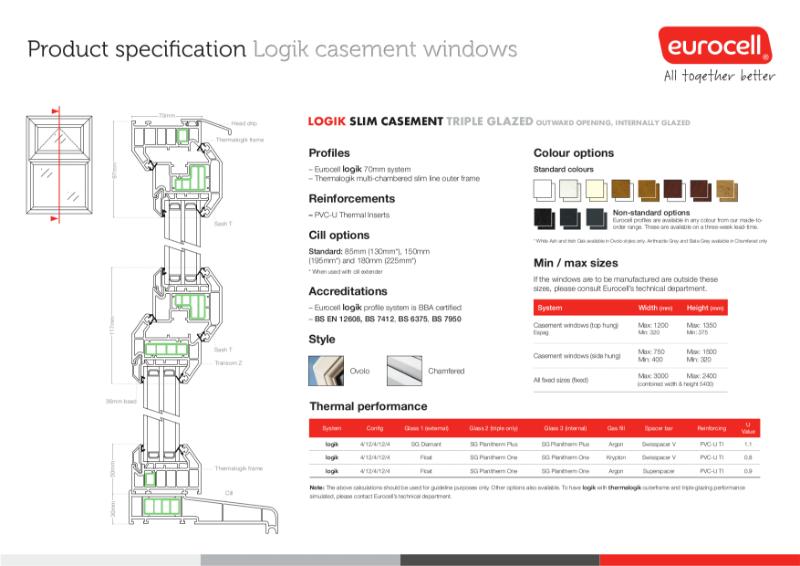 Logik Casement TG Slim Window Product Specification
