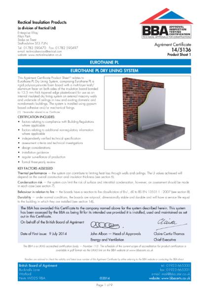 14/5136 Eurothane PL Dry Lining System