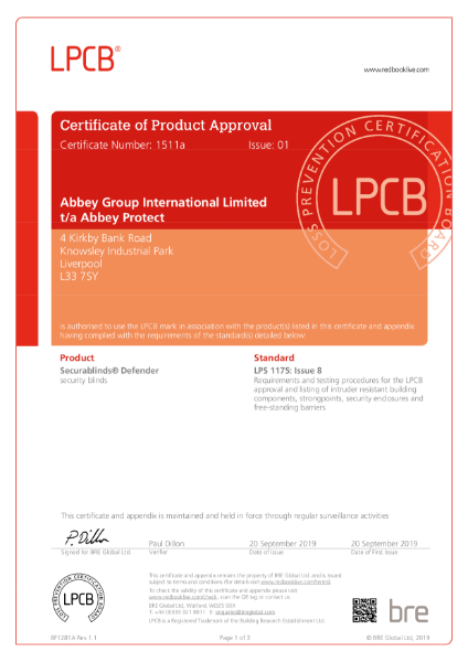 LPS 1175: Issue 8 Security Rating B3 (SR2)