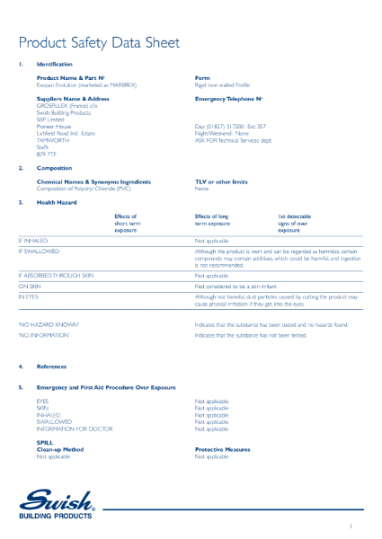 Product safety data sheet - Marbrex