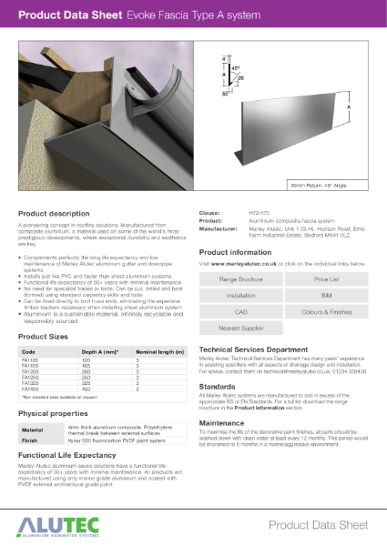 Marley Alutec Product Data Sheet Evoke Fascia Type A
