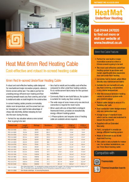 Underfloor Heating In-screed Cable Datasheet