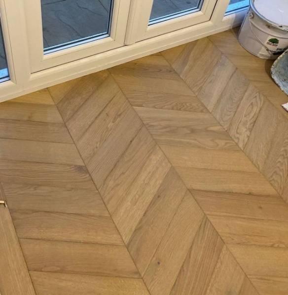 Oak Engineered Wood Flooring, Fumed, UV Oiled, 60° Chevron Parquet
