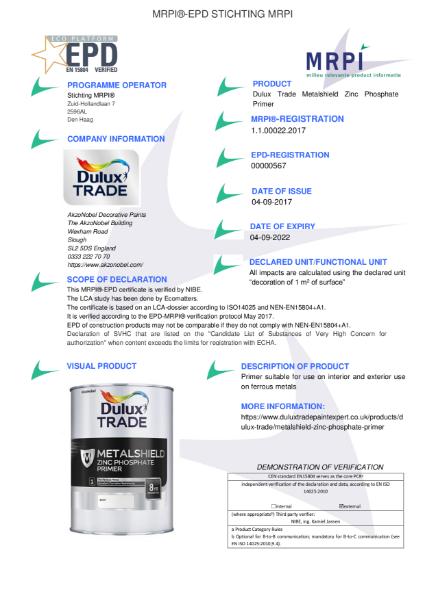 22 MRPI EPD Metalshield Zinc Phosphate Primer DEF
