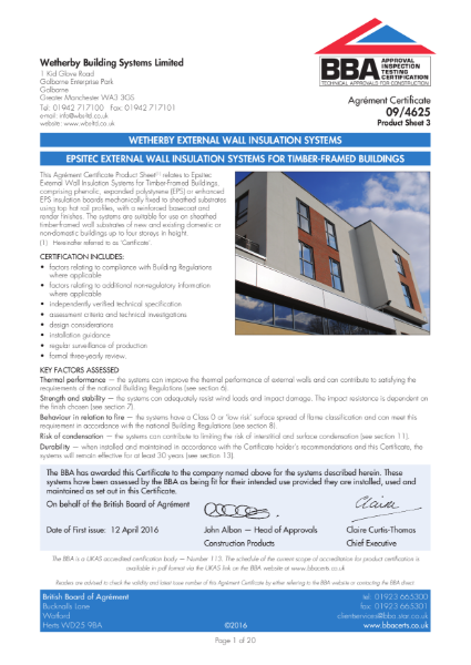 09/4625_3 EPSITEC EXTERNAL WALL INSULATION SYSTEMS FOR TIMBER-FRAMED BUILDINGS
