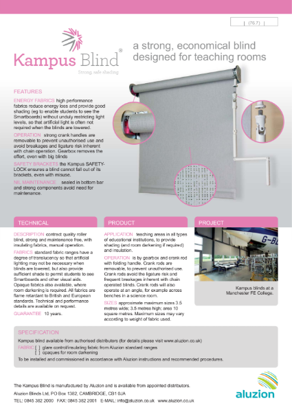 Aluzion Kampus Blind Specification and Data Sheet