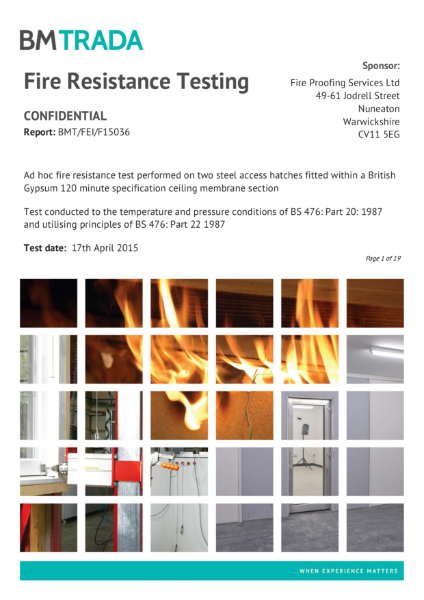 BMTRADA Fire Resistance Testing Certificate BMT/FEI/F15036