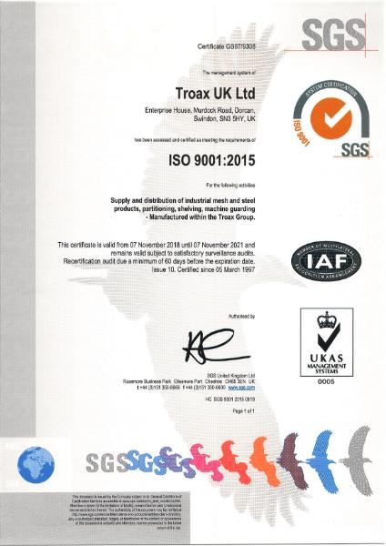 BS EN ISO 9001:2015 Certificate (Industrial mesh and steel)